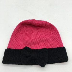 Kate Spade Pink and Black Bow Winter Hat
